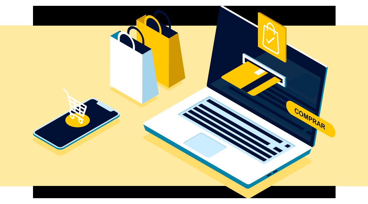 Significado de e-commerce como concepto de comercio electrónico.