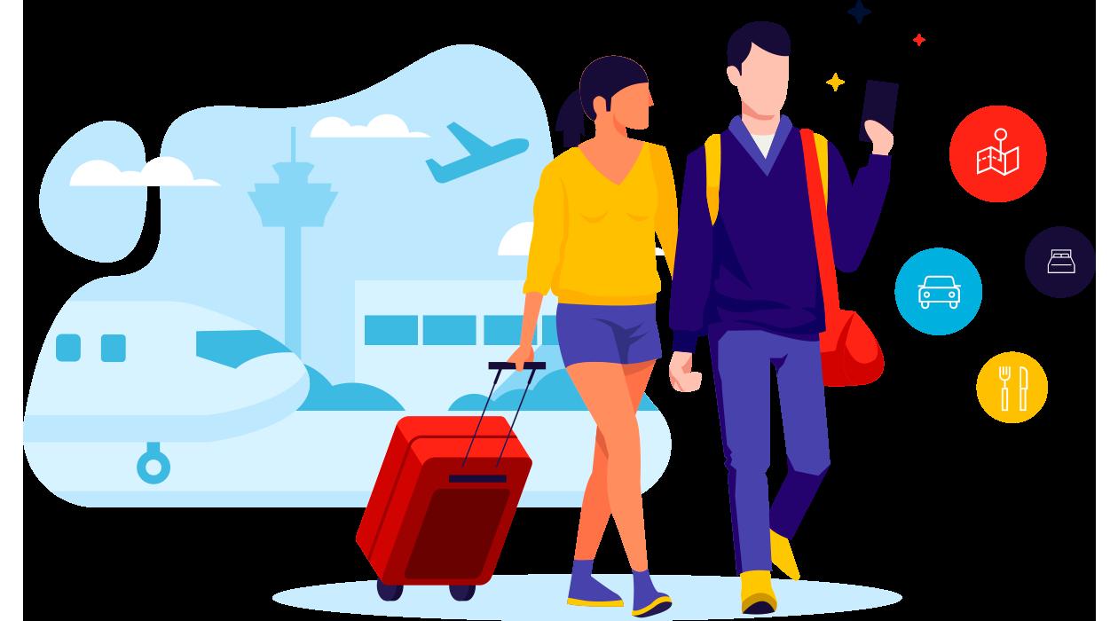 Turista hiperconectado buscando servicios turísticos del destino.